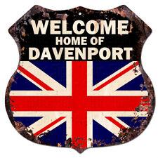 BWUK0561 Welcome Home of DAVENPORT UK Flag Family Name Sign Decor Gift Ideas