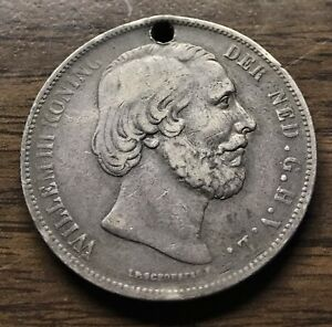 1873 NETHERLANDS WILLIAM 2 1/2 GULDEN CROWN SIZE SILVER COIN(HOLED)FREE SHIPPING