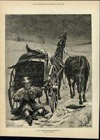Mailman Drinking Snowstorm Smoking Pipe Smiling 1882 antique wood engraved print