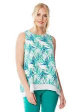 Tropical Print Sleeveless Overlay Chiffon Top Ladies Day - Women Roman Originals