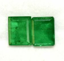 Emerald Color Doublet 10x8 MM Octagon Cut Pair 6.29 Cts Green Loose Gemstones