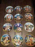 "12 M.I.Hummel Collector Plates ""Seasons of Joy"" Bradford Exchange Calendar set"