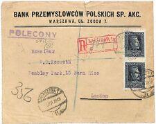 UU319 1928 Pologne inscrit Warszawa bancaire cover London {samwells couvre -}