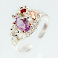 Handmade vintage Female Natural Amethyst 925 Sterling Silver Ring / RVS103