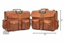 Side Pouch Leather Saddle Bag Brown Motorcycle Panniers Saddlebags Bags Bike New