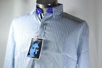 English Laundry Shirt John Lennon Imagine Art White + Blue Stripe MEDIUM NWT NEW