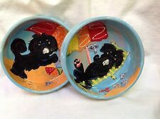 Shih Tzu Dog Bowls, hand painted by Debby Carman