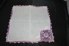 Vintage White Handkerchief/Hankie/Hanky Purple crocheted edge