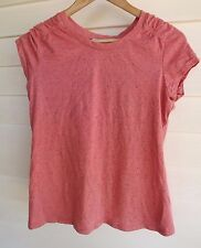 Hot Options Women's Pink Short-Sleeve Top with Fabric Crossover on Back - Sz 10