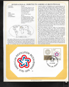 BELGIUM FIRST DAY COVER - INSERTED ON ALBUM PAGE - AMERICA'S BICENTENNIAL - 1976