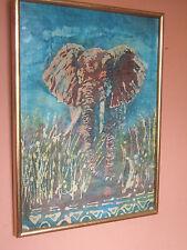 BELLA GRANDE incorniciato SERIGRAFICA Batik di elefanti selvatici