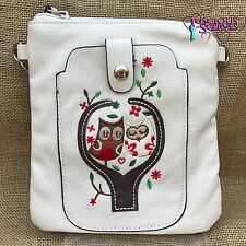 Cream Owl Small Bag with Mobile Phone Spectacle Holder Long Cross Body Strap New