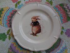 MAGENTA VINTAGE ROYAL SCRIPT EASTER BUNNY RABBIT SALAD DESSERT PLATES SET OF 4