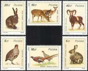 Poland 1986 Rabbit/Hare/Pheasant/Deer/Game Animals/Birds/Nature 6v set  (n22308)