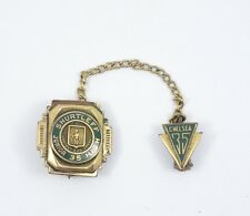 VINTAGE 1935 SHURTLEFF JUNIOR HIGH GREEN ENAMEL 1/20 10K GOLD FILLED LAPEL PIN