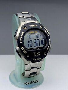 Timex Men's Ironman Triathlon Flix 30-Lap Digital 100m WR Resin Watch Metal Band