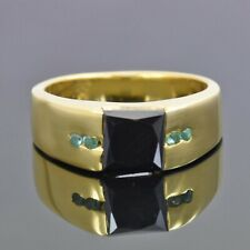 Princess Cut Black Diamond Band Ring With Emerald Accents,Excellent Cut & Luster