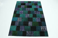 Vintage Patchwork Orient Tapis moderne 310x200 turquoise, lilas Used Look 167110