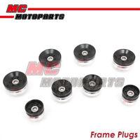 Black CNC Billet Frame Plugs Caps For Ducati Diavel 14-17