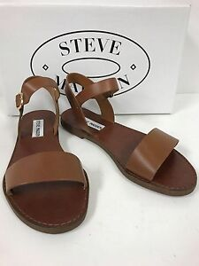 Steve Madden Donddi Tan Leather Upper Sandals With Buckled Ankle Strap-New