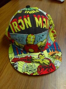 New Vintage Iron Man All Around Print Fitted Hat Cap Size L/XL Marvel Comics