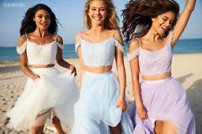 Sherri Hill 51771 Ivory Lace Crop Top Gown Dress sz 2