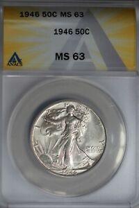 1946  .50   ANACS   MS 63   Walking Liberty, Half Dollar, Lady Liberty Half