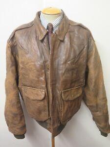 "Vintage Genuine Avirex Leather USAAF A2 Flight Bomber Jacket 46"" Euro 56 Brown"