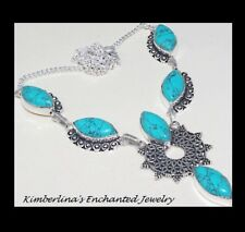 NEW - TURQUOISE STONE ANTIQUE SILVER PENDANT NECKLACE