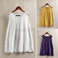 Women Linen Cotton Retro Tops Shirt Blouse Embroidered Eyelets Tank Vest Cami US