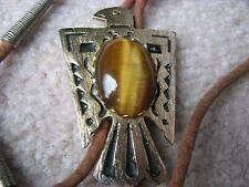 Stone Rope Bolo Gold Leaf Eagle and