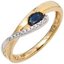 Echte Edelstein-Ringe aus mehrfarbigem Gold mit Saphir für Damen
