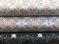 Lewis and Irene 'Winter in Bluebell Wood – Winter Floral' 100% Cotton Fat Qua...