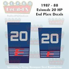 1987-88 Evinrude 20 HP End Plate Decals Outboard Reproduction 2 Pc Marine Vinyl