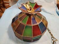 Leaded glass lamp shade pendant light 16.5 inch