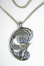 Amulett Kette Fire & Ice Anhänger Schmuck Mystik Fantasy Meerjungfrau Delphin