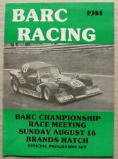 BRANDS HATCH 16 Aug 1981 BARC CHAMPIONSHIP RACE MEETING A4 Programme