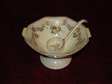 Vintage Noritake M Gold Embossed Octagon Mayonnaise Bowl w/ Ladle