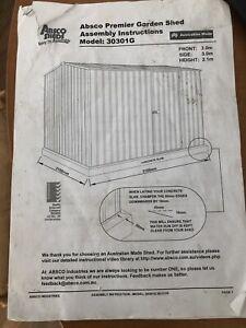 Absco Premier garden shed Model: 30301G 3.0mx3.0m  hieght = 2.1m