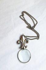 Silver Fleur De Lis Magnifying Glass Magnifier Pendant Necklace