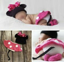 Newborn Girl Minnie Mouse Crochet Set in Pink Photo Prop Newborn Session