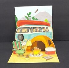 Happy Camper Greeting Card Any Occasion 3D Pop Up VW Van Camping Treasures
