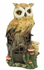 Novelty Owls House with Led Light Figurine Statue Ornament Owl Gift