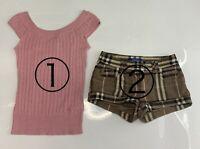 Authentic BURBERRY BLUE LABEL Logo Knit Tops & Short Pants 2set #38 Rank AB+