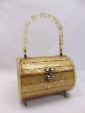 Vintage LUCITE BARREL CYLINDER PURSE Gold w Stars Metal Legs For PARTS REPAIR
