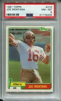 1981 Topps Football #216 Joe Montana 49ers Rookie Card Graded PSA NM Mint 8 '81