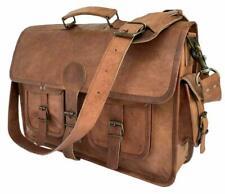 Vintage Worlds best Leather Large Messenger Laptop Satchel Briefcase Men's Bag