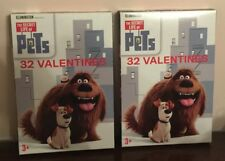 (2) Brand New Universal The Secret Life of Pets 32 ct. Valentines Day Cards