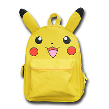 "16"" Pokemon Pikachu School Backpack Book Bag with Ear Kids Boy Anime Family Gift"