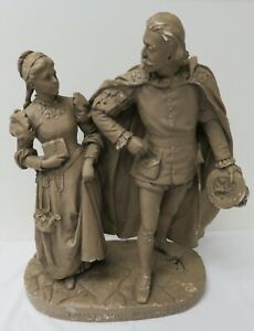 """Vintage John Rogers 22"""" Statute Faust and Marcuerite There First Meeting"""
